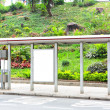 Blank billboard on bus stop — Stock Photo