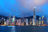 Skyline de Hong kong dans la nuit — Photo