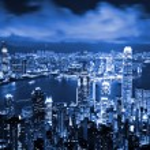Skyscraper at night in Hong Kong — Stock Photo