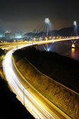Highway and Ting Kau bridge at night — Stock Photo