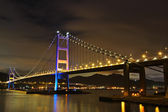 Tsing Ma Bridge night view — Stock Photo