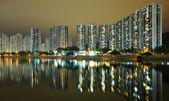 Hong Kong public housing and river — Stock Photo
