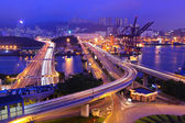 Cargo Terminal and highways in Hong Kong — Stock Photo