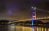 Tsing Ma Bridge night view — Stockfoto