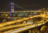 Autopista y puente de noche — Foto de Stock