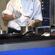 The cook on kitchen tastes readiness of a dish. — Stock Photo