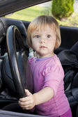 The child at the wheel the car — Stock Photo