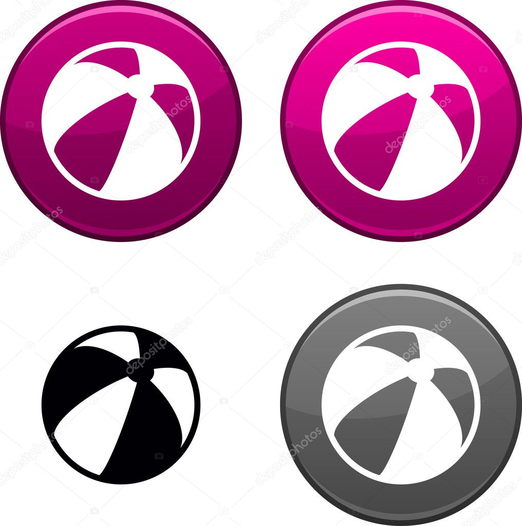Summer balloon round buttons. Black icon included. — Stock Vector #5384901