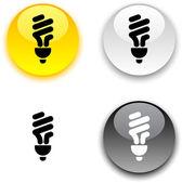 Fluorescent bulb button. — Stock Vector