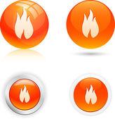 Ícones de chama. — Vetor de Stock