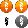 Fluorescent bulb button. — Stock Vector