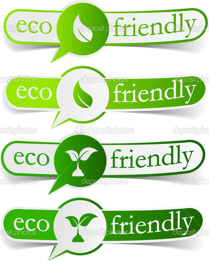 Vector illustratin of Eco friendly sticky labels. — Stock Vector #5991044