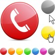 Stock Vector: Telephone glossy button.