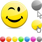 Smiley glossy button. — Stock Vector