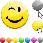 Błyszczący przycisk smiley. — Wektor stockowy