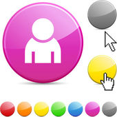 Person glossy button. — Stock Vector