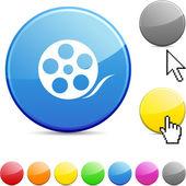 Media glossy button. — Stockvektor