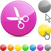 Scissors glossy button. — Stock Vector