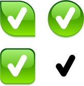 Check glossy button. — Stock Vector