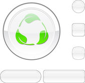 Recycle white button. — Stock Vector