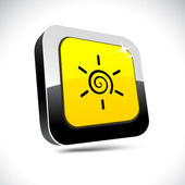 Sun 3d square button. — Stock Vector