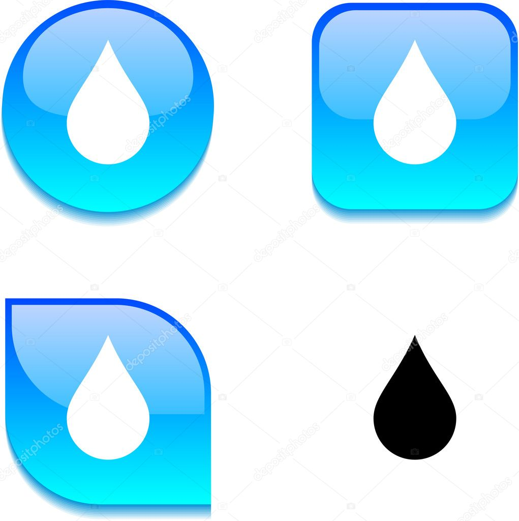 Rain glossy vibrant web buttons.  Stock Vector #6060171