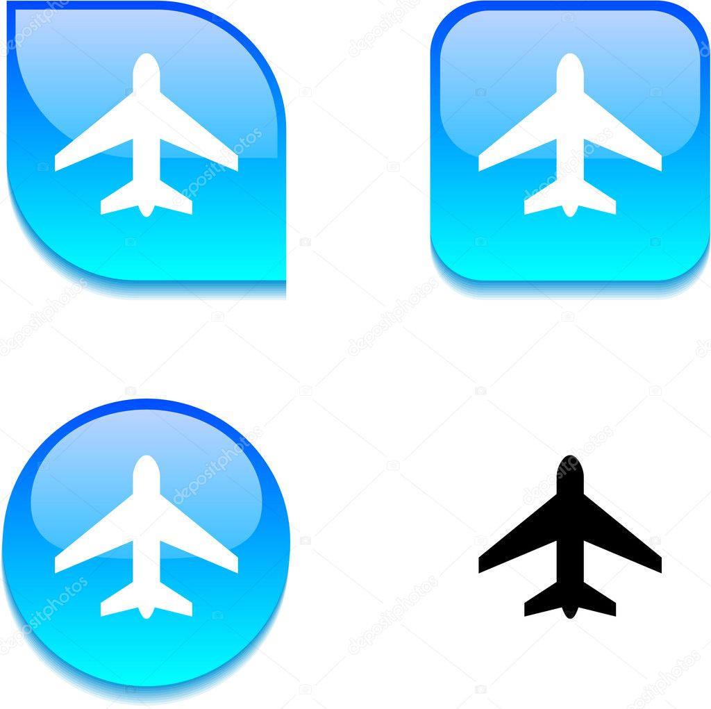 Aircraft glossy vibrant web buttons. — Stock Vector #6060172