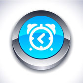 Alarm-clock 3d button. — Stock Vector