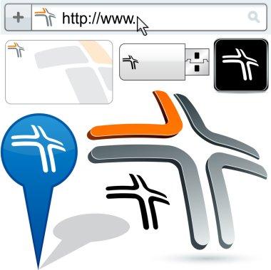 Business 3D cross logo design.