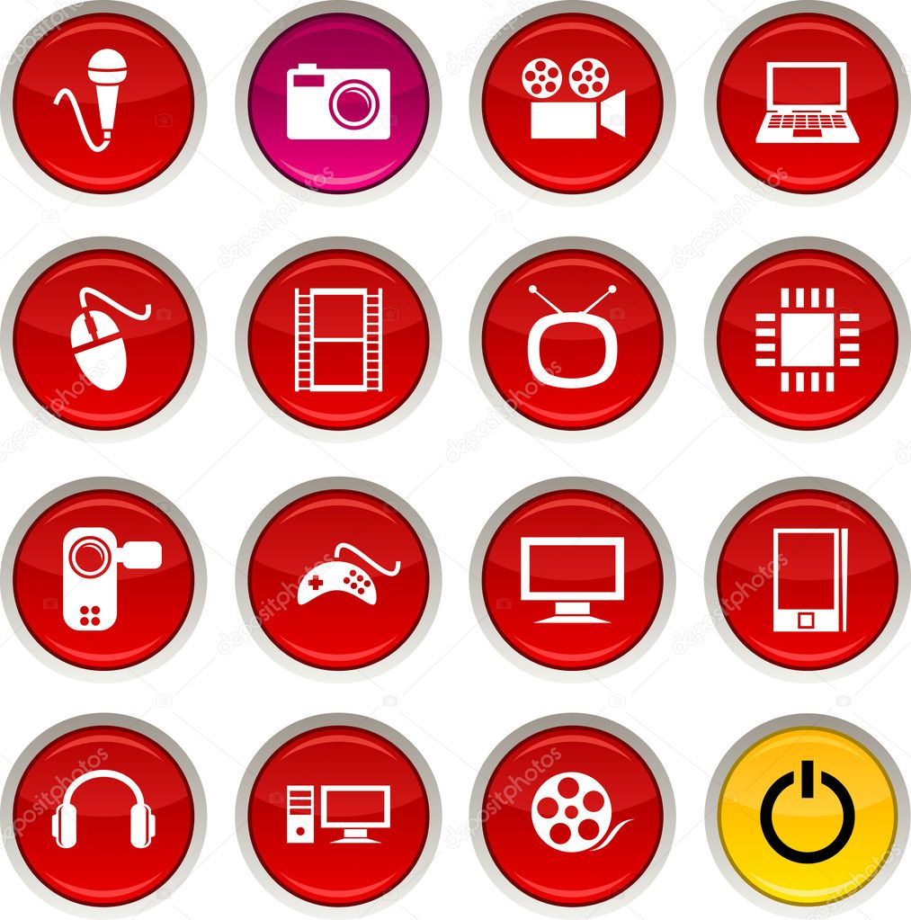 Multimedia glossy icons. Vector buttons. — Stock Vector #6075921