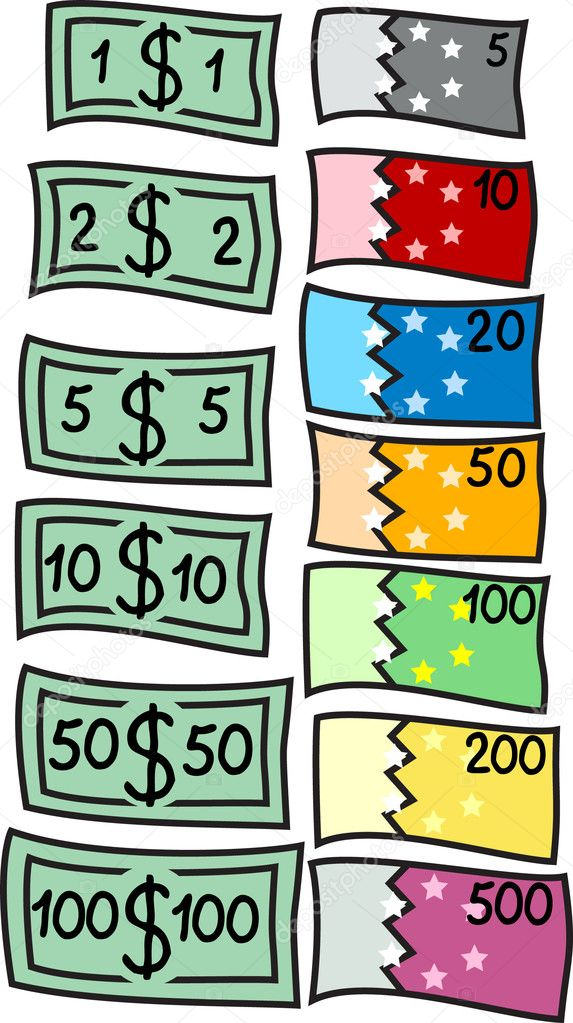 Two collections of different currency: dollars and euro. Vector illustration. — Stock Vector #6079217