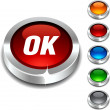 Ok 3d button. — Stockvectorbeeld