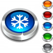 Snowflake 3d button. — Stock Vector