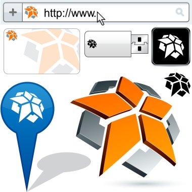 Business pentagon abstract logo design.