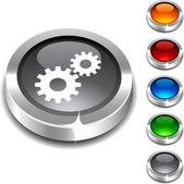 Settings 3d button. — Stock Vector
