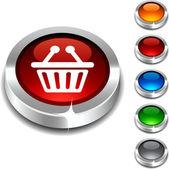 Shopping 3d button. — Stock Vector