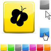 Butterfly glossy button. — Stock Vector