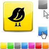 Vogel glanzende knop. — Stockvector