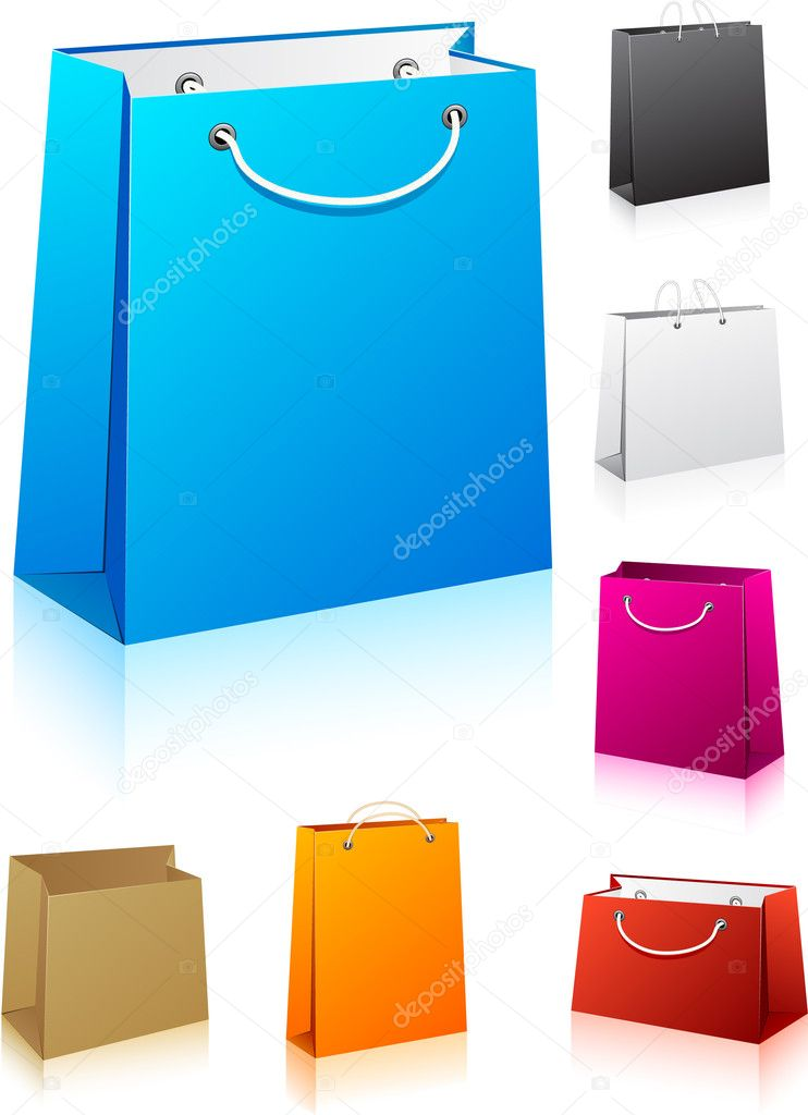 Vector illustration of paper shopping bags. No transparency. Eps8 Only. — Stock Vector #6107025