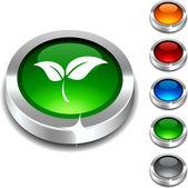Ekologie 3d tlačítko. — Stock vektor