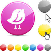 Bird glossy button. — Stock Vector