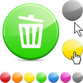 Recycle bin glossy button. — Stock Vector