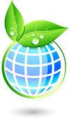 葉および地球. — ストックベクタ