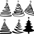 Six christmas-trees. [Vector] — Grafika wektorowa