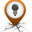 Stock Vector: Bulb orange icon in crack.