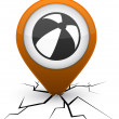 Summer balloon orange icon in crack. — Stockvectorbeeld
