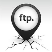 FTP black icon in crack. — Stock Vector