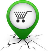 Shopping green icon in crack. — Stock Vector