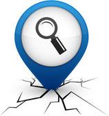 Hledání modré ikony v crack. — Stock vektor