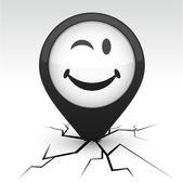 ícone de smiley preto no crack. — Vetorial Stock